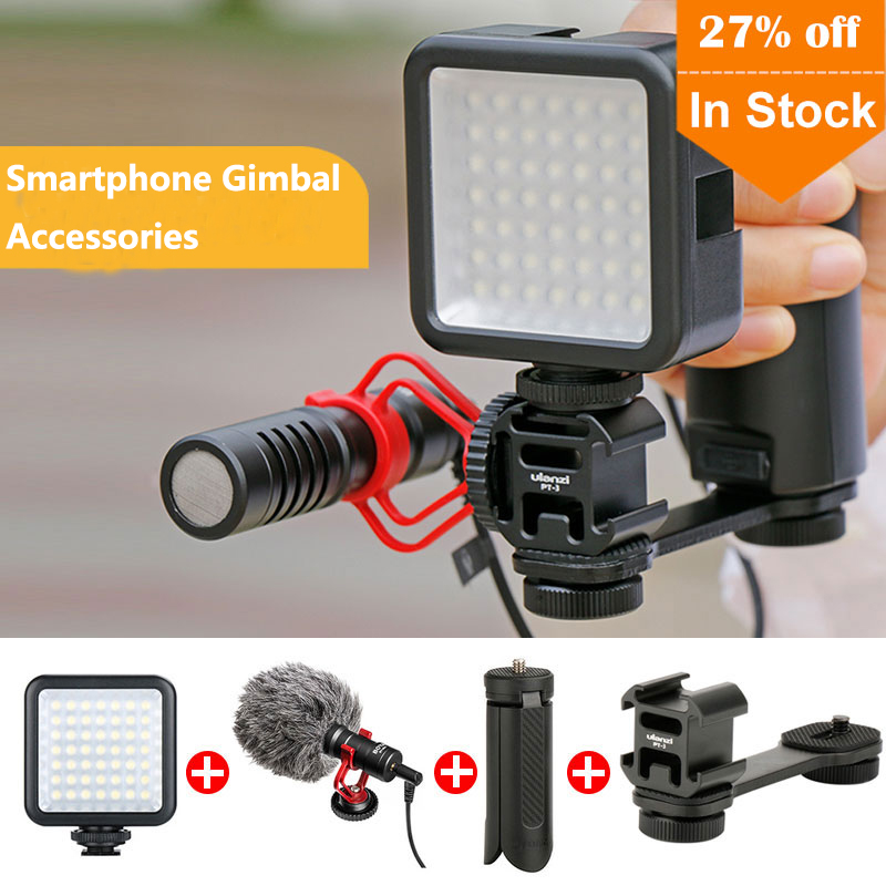 Smartphone Vlogging Kit Tripod For Zhiyun Smooth 4/Smooth Q/DJI OSMO Mobile 2/Feiyu Vimble 2 Microphone LED Video Light Vlog Kit