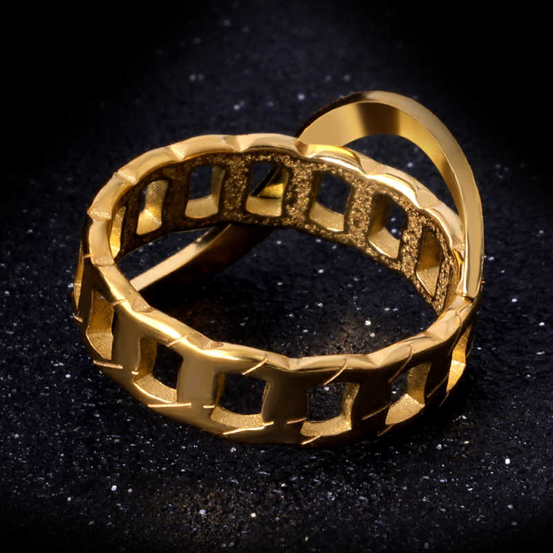 Vintage Desgin Hollow Rotating Ring Titanium Stainless Steel Men Rings Gold Color Couple Finger Rings Jewelry Woman Accessory