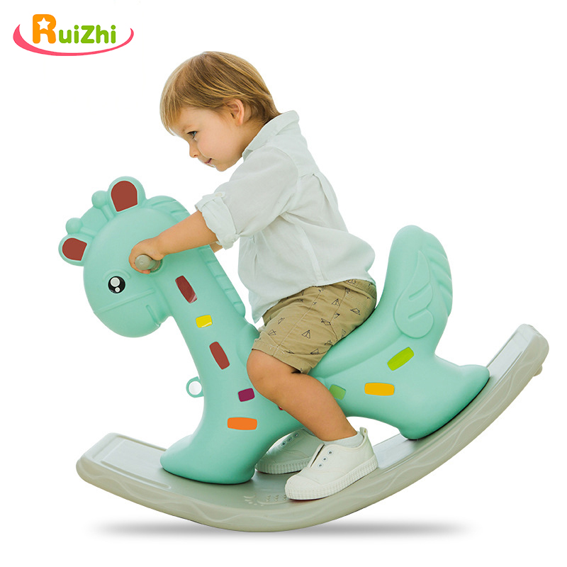Ruizhi Child Cartoon Giraffe Thickening Plastic Rocking Horse Baby Indoor Rocking Chair Kindergarten Ride On Animal Toys RZ1238