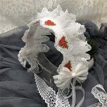 日本ロリータホワイトちょう結びヘアフープヘッドバンドロリータヘッドドレス赤バラ刺繍ヘアアクセサリー手仕事の装飾品コスプレ