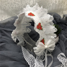 Japonês lolita branco bowknot cabelo hoop lolita cocar rosas vermelhas bordado acessórios para o cabelo handwork enfeites de cabelo cosplay