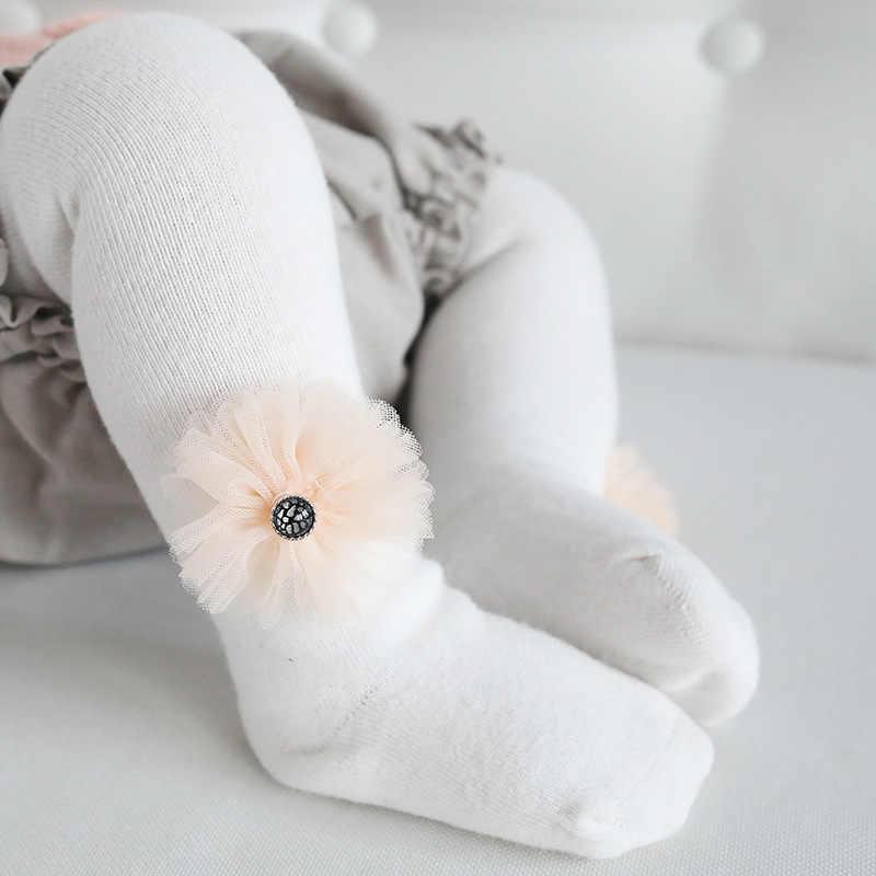 Anak Gadis Bunga Pantyhose Warna Solid Celana Ketat Kawaii Lucu Bayi Kecil Anak-anak Stoking Musim Dingin Hangat Baju Elastisitas Katun