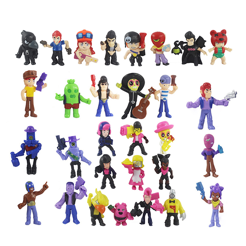 30Pcs/Lot Brawl Figure Toys Amine Game Star Poco Shelly Nita Colt Jessie Brock Collectiable Block Model Toy For Children Gifts
