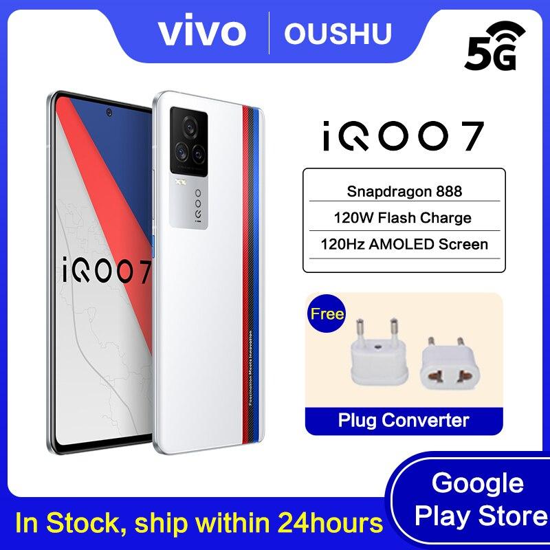 Mais novo original iqoo 7 5g celular snapdragon 888 120w traço de carregamento 6.62
