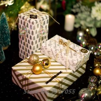 Papel de regalo de Navidad con estampado de oro de 10 piezas papel para envolver el árbol de Navidad