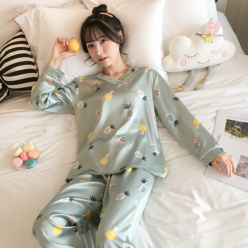 Pajamas Women's Spring And Autumn Viscose Long Sleeve Korean-style Students Cute Candy Pineapple Two-Piece Set Silk Home Wear