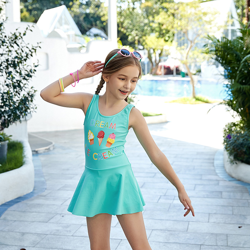 2019 New Style Miss Sunshine KID'S Swimwear Cute Ice Cream Lettered Pattern Children Women's One-piece Swimming Suit Foreign Tra