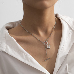 AOMU 2020 Fashion Simple OT Buckle Necklace Metal Gold Silver Color Lock Pendant Necklace for Women Party Jewelry