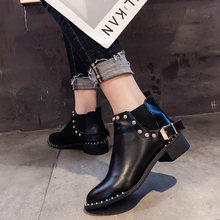 Lace Up Rivets Women's Mid Calf Boots Low Heels booties Fashion Womens Shoes 2019 Booties Ladies Round Toe Punk Autumn Black(China)