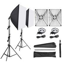 สตูดิโอถ่ายภาพ Softbox 50*70 ซม.4 in 1 ซ็อกเก็ต E27 โคมไฟ 2M ขาตั้งกล้อง photo Studio Kit สำหรับถ่ายภาพวิดีโอ