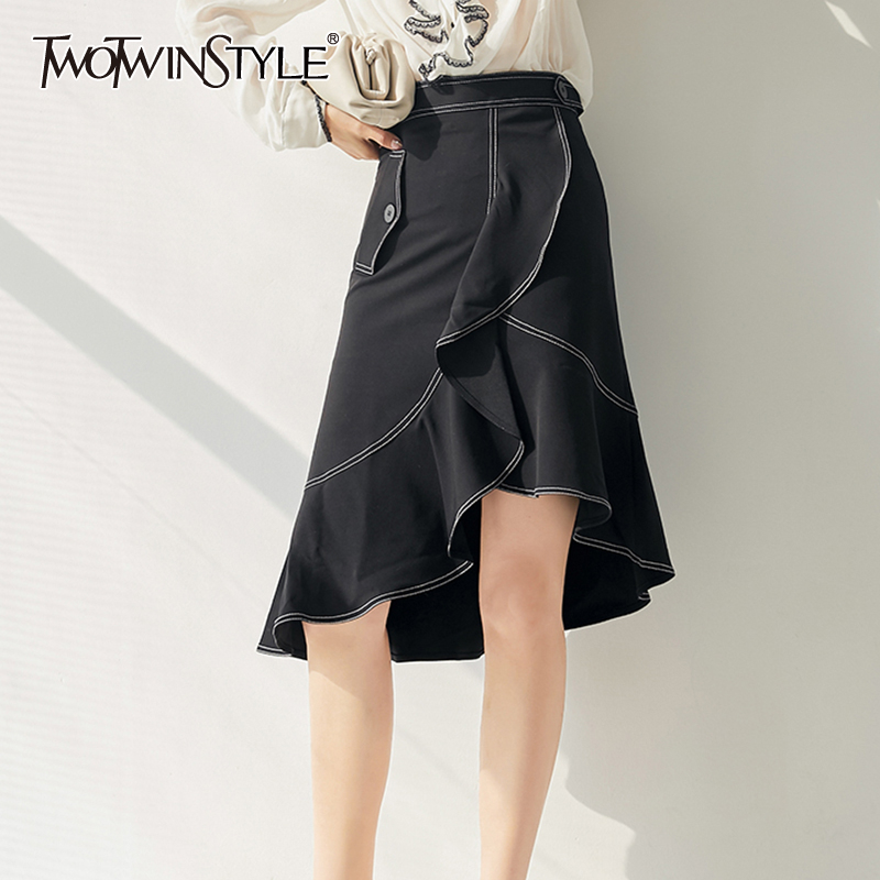 TWOTWINSTYLE Casual Asymmetrical Women Skirt High Waist Ruched Irregular Hit Color Skirts For Female Fashion Clothing 2020 Tide