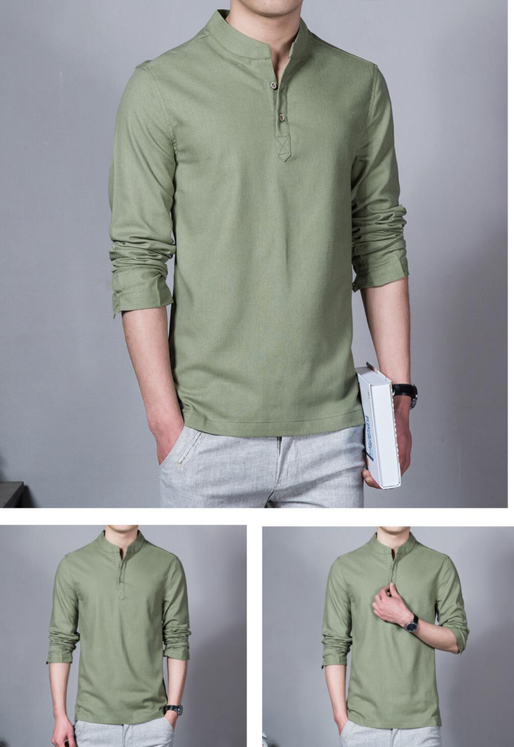 2019  NEW Men's Casual Shirt Maa1 Blue Green White Male Sleeve Slim  Shirt  PPJ11-1-23