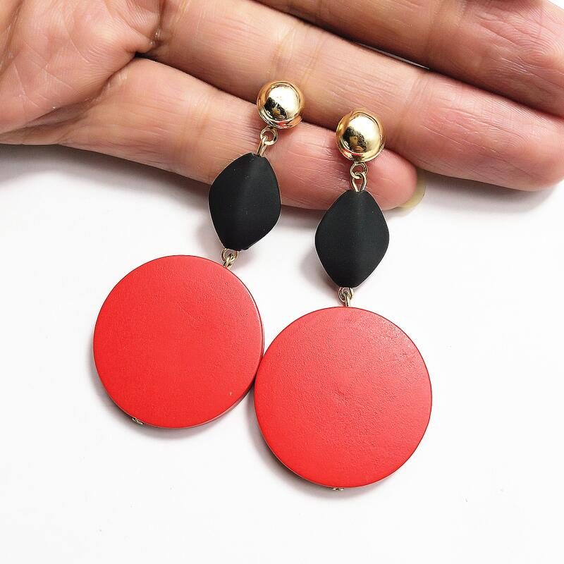 Vintage Big Round Earrings Gifts For Women Black Style Wooden Drop Earrings Fashion Long Statement Gold Earrings Female Jewelry