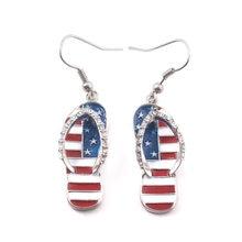 Zrm americano fl ^ ag moda estilo gancho de orelha jóias feminino nacional esmalte chinelos forma balançar brincos eua bandeira brincos
