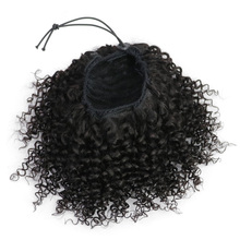 Ponytail-Extensions Human-Hair Isheeny Brazilian Clip-Ins Black Curly Afro Kinky Remy