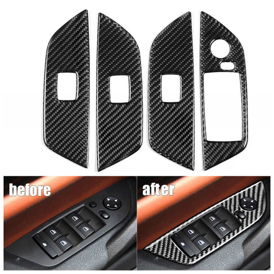 Стеклоподъемник из углеродного волокна, панель переключателя, отделка крышки без складывания, подходит для автомобилей X1 E84 2011 2012 2013 2014 2015 LHD