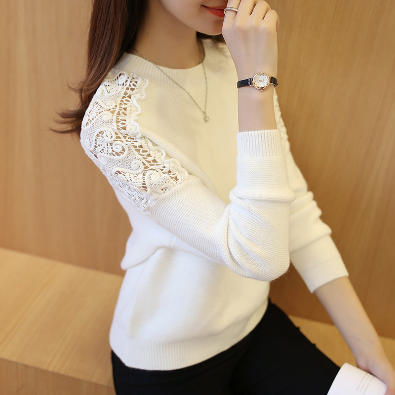 2019 New Autumn Winter Women Pullover Korean Hollow Out Knitwear Batwing Sleeve Embroidered Casual Women's Sweater Pull Femme