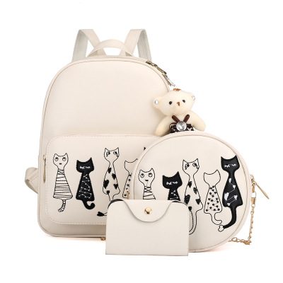 Backpack Shoulder Bag Set For3 Items Cat Printed Girls PU Leather Clutch Purse Bag Zipper Crossbody Bag Girl Style