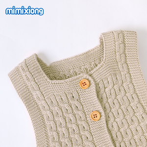 Image 4 - Baby Rompers Knitted Clothes Autumn Sleeveless Newborn Girl Jumpsuits Outfits Solid Children Overalls Soft Toddler Boy Playsuits