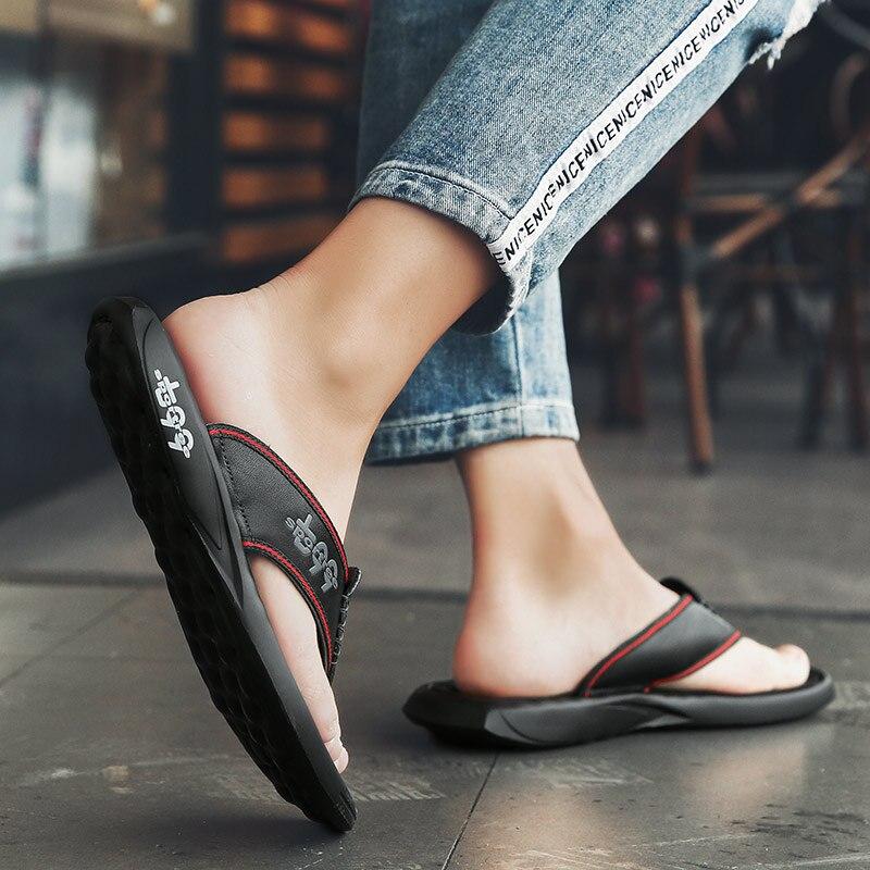 Hoge Kwaliteit Echt Leer Mannen Slippers Flip Flops Mannen Slides Fashion Casual Flip Flop Slippers Zomer Strand Slippers - 5