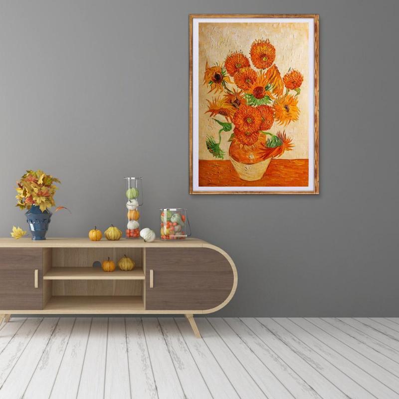 Bricolage encadré peintures à l'huile chinois simplicité avec tournesol fenêtre mur photos maison couloir chambre chevet étude décor