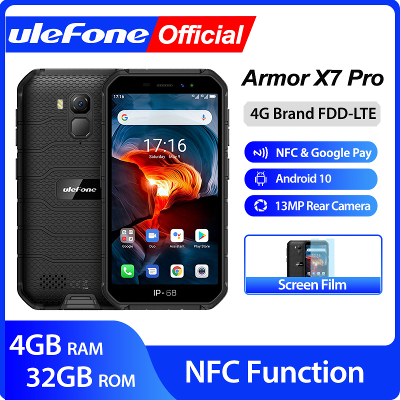 Ulefone Armor X7 Pro Android10 Rugged Phone 4GB RAM Smartphone Waterproof Mobile Phone Cell Phone ip68 NFC 4G LTE 2.4G/5G WLAN(China)