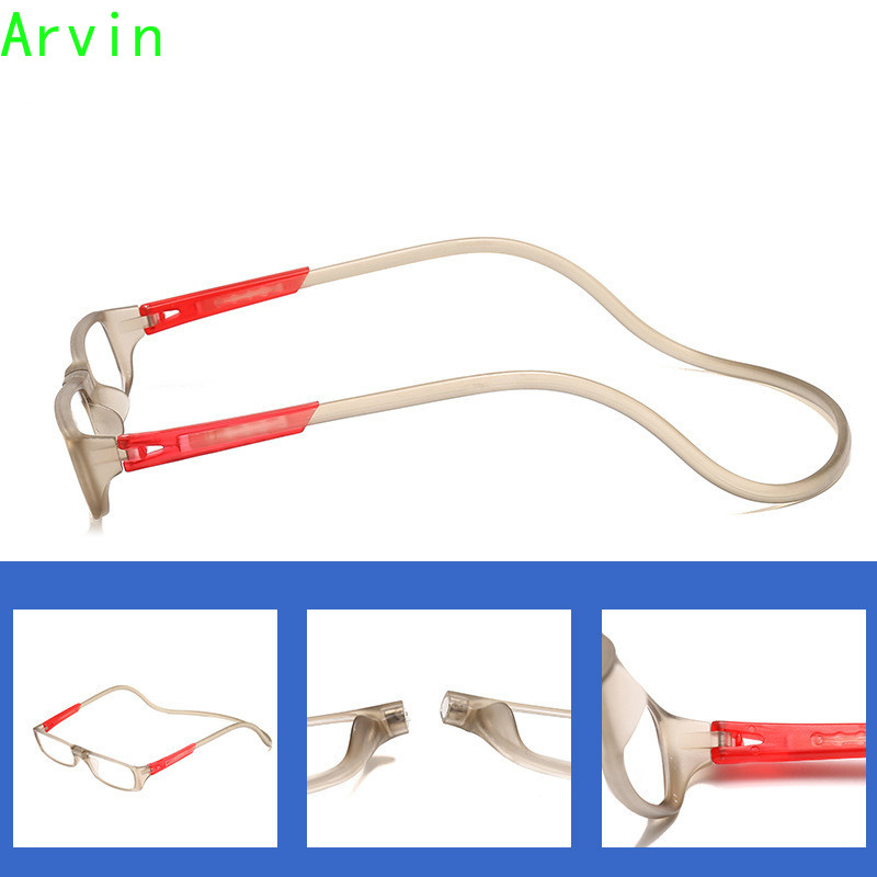 Arvin Hanging Neck Buckle Reading Glasses Folding Presbyopic Men Women Soft Silicone Magnetic Vintage Eyeglasses 1.0 1.5 2.0