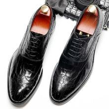 Handmade Designer Luxury Wedding Formal crocodile shoes Business Men's dress shoes Genuine Leather Mens Derby oxford new 2017 men s genuine leather shoes round toe lacing wedding dress formal business derby shoes 2colors eu38 44 handmade