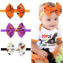2019 Halloween Printed Headband for Baby Girls Handmade Pumpkin Color Bowknot Head Elastic Band Party Kids Headwear
