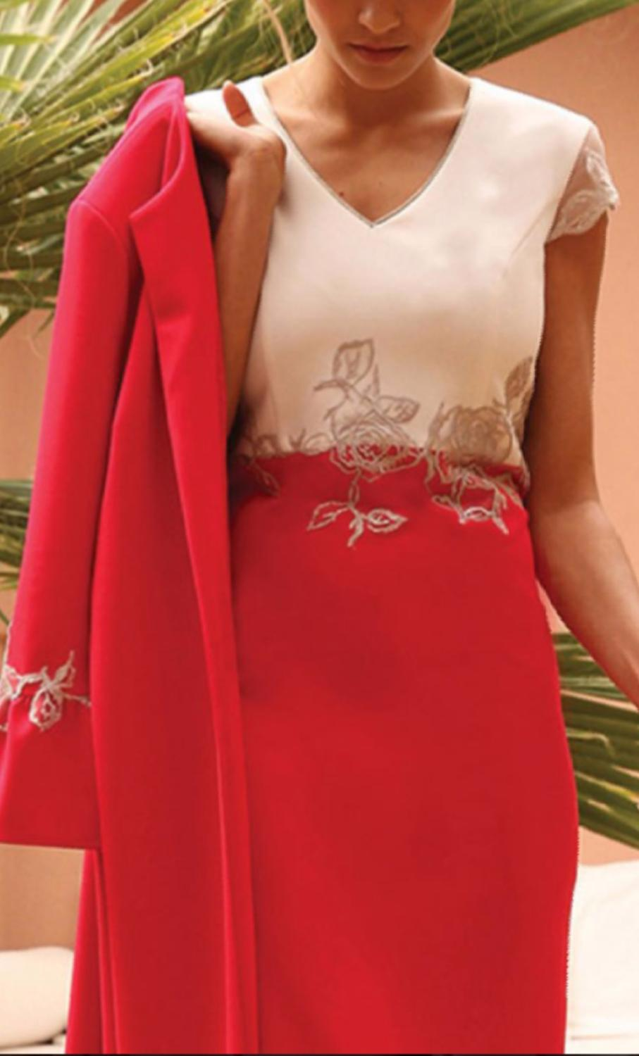 Two Pieces Mother Of The Bride Dresses Suits Red Outfits Flare Women Formal Wedding Guest Dresses Evening Gowns New