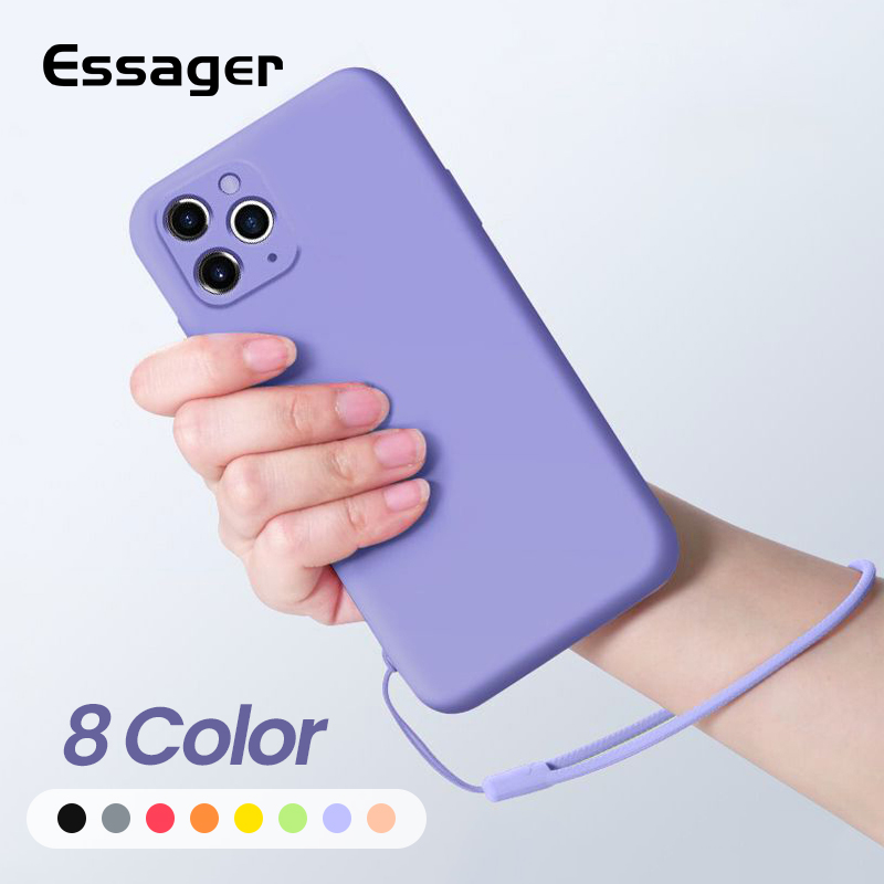 Essager Luxury Liquid Silicone Case For iPhone 11 Pro Xs Max X Soft TPU Back Shell Cover For iPhone 8 7 6 6S Plus SE 2020 Coque