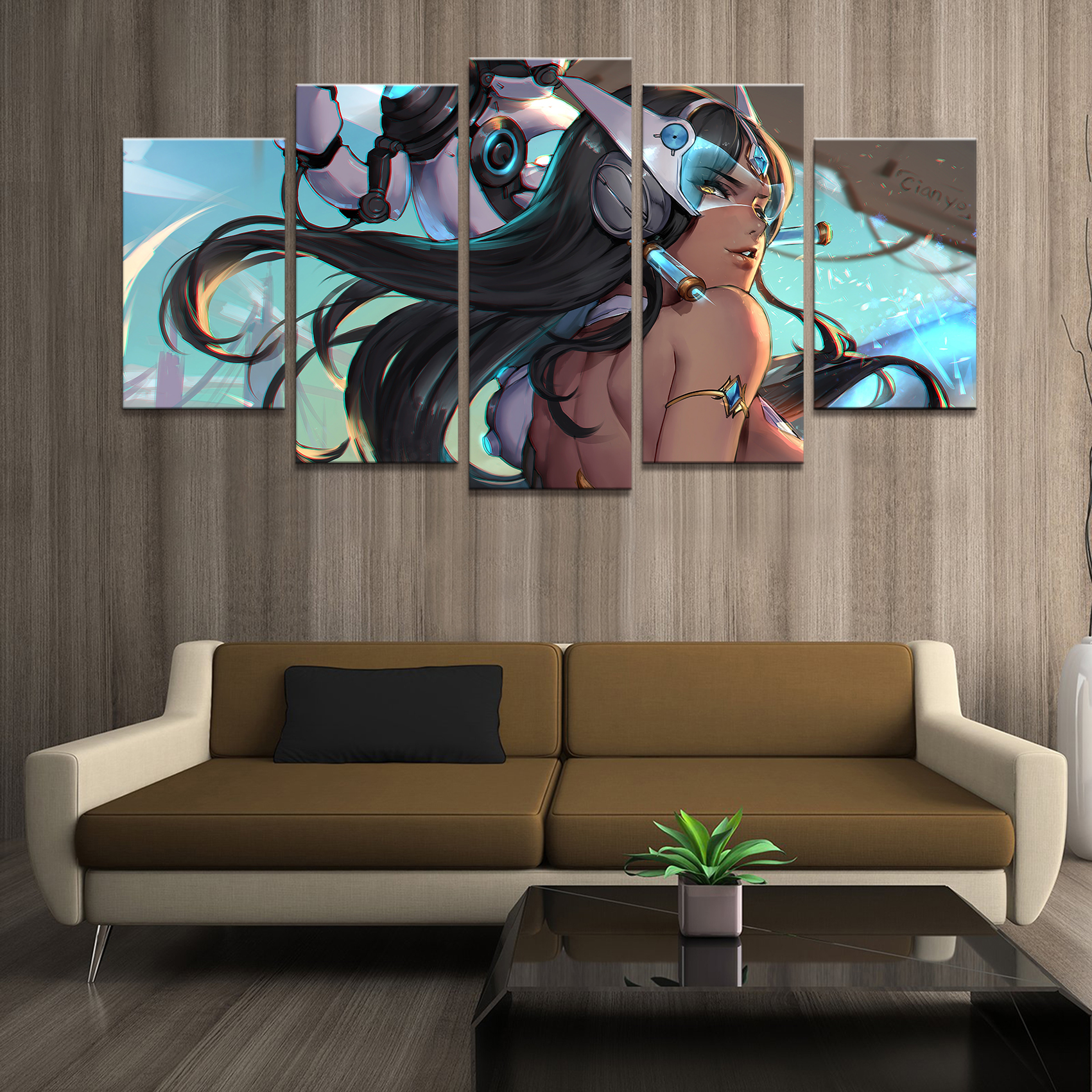 Home Decor Poster HD Art Pictures Prints Canvas 5 Piece Modular Symmetra Overwatch Game Living Room Decorative Painting Framed image