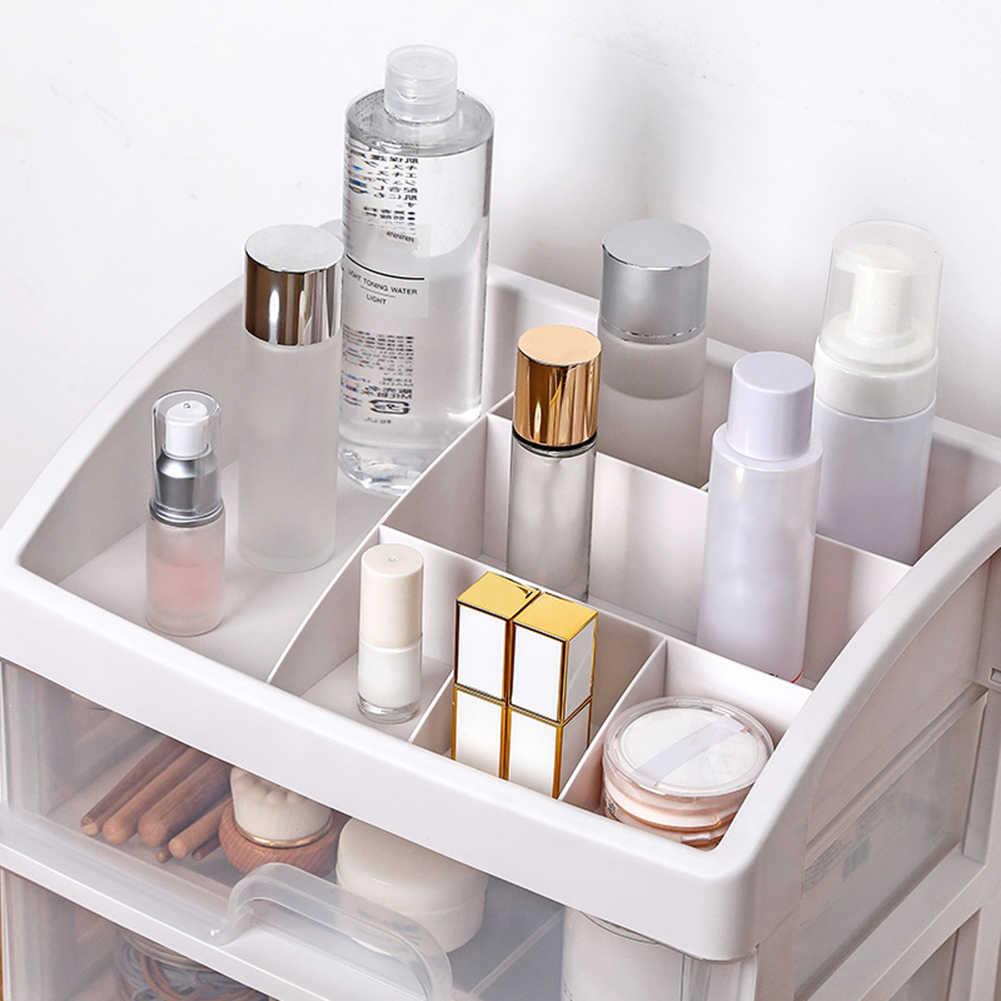 2/3 camada organizador de maquiagem gavetas de plástico caixa de armazenamento de cosméticos recipiente de jóias compõem caso maquiagem escova titular organizadores