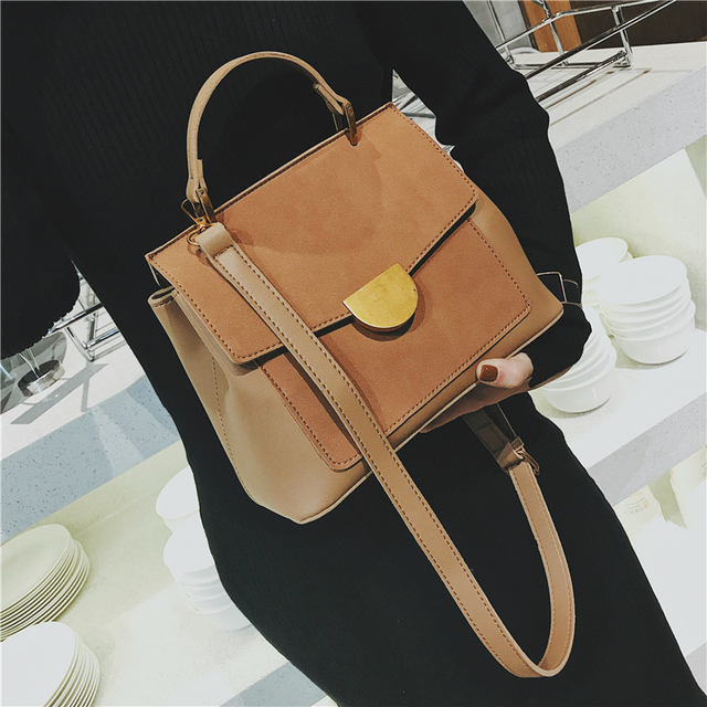 Burminsa Winter Suede Women Messenger Bags Small Soft PU Leather Handbags Retro High Quality Young Ladies Shoulder Bags 2019
