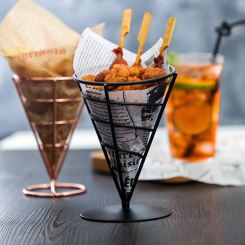 Stainless Steel french fries stand Snacks Display Pizza Cone holder Fries Baskets Sauce Salad Dipping Cup Kitchen Tool image