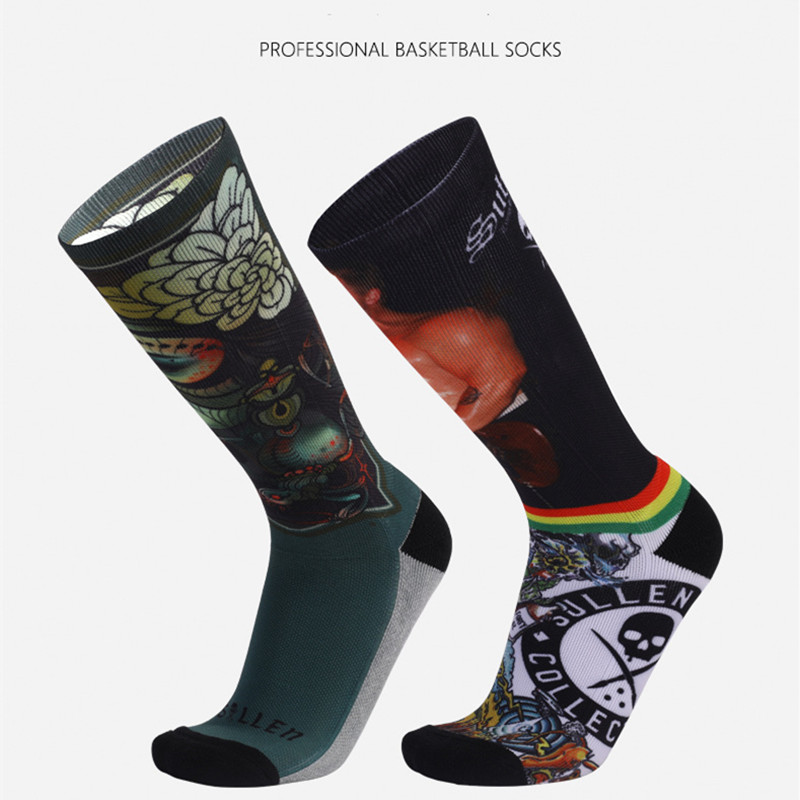 2021 New Fashion Knee-High Towel Socks Thick Sport Crew Digital Sullen Printing Non-Slip Comfortable Cycling Breathable