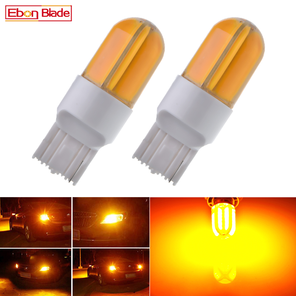 2Pcs T20 7440 W21W WY21W LED Car Lights COB 48SMD Silicone Bulbs Amber Yellow Orange For Auto Turn Signal Light Bulb Lamp 12V DC image