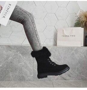 Image 4 - SWYIVY Martin buty buty kobieta Rabbit Fur ciepłe pluszowe 2019 zimowe nowe buty damskie Casual oryginalne skórzane buty śnieżne wysokie góry