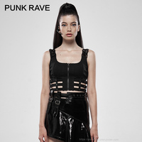 PUNK RAVE Women's Punk Puppet Futuristic Vest Patent leather Hollow Out Slim Fit Short Sling Sleeveless Personality Black Tanks