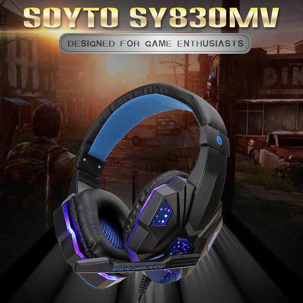 2020 New SY830MV Gaming Headset Earphone Wired Gamer Headphone Stereo Sound Headsets With Mic LED Light For Computer PC Gamer