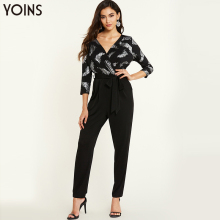 цена на YOINS 2020 Spring Autumn Women Sexy Deep V Neck Crossed Front Tie-up Jumpsuit Female Elegant Office Trousers Outfits Femme Black