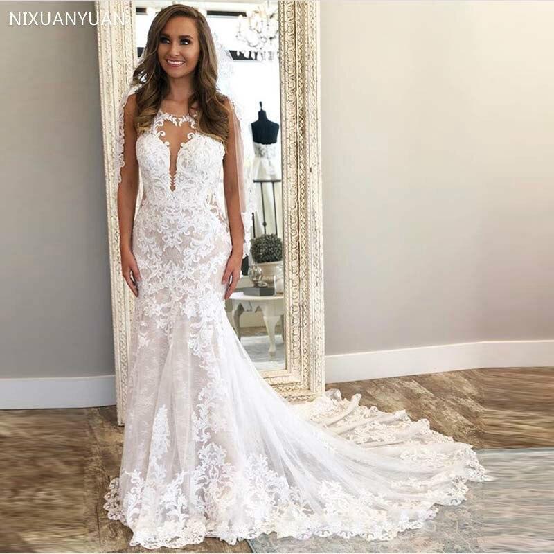 Lace Appliques Mermaid Wedding Dresses 2020 Sleeveless White Ivory Vestido De Novia Backless Wedding Gowns