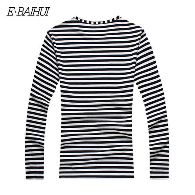 Купить e baihui новая осенняя повседневная полосатая футболка для мужчин