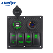 Marine Boat Switch Panel 4 Gang with Voltmeter Socket 4.2A Dual USB Charger Car LED light On/Off Rocker Switch Panel Car Boat 100% new genuine original p vip 180 0 8 e20 8 projector lamp bulb p vip 180w 0 8 e20 8 for osram 180 days warranty best quality