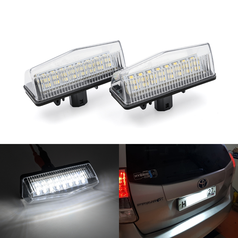 2x подходит для Toyota Prius XW20 XW30 Prius Plus/V Venza Matrix RAV4 для Lexus CT200h Scion tC SMD белый светодиодный номерной знак