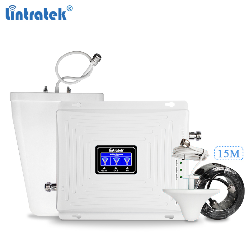 Lintratek Repeater GSM 2G 3G 4G Signal Booster 900 1800 2100MHz Tri Band  Booster GSM 900 1800 3G 2100 Signal Ampli KW20C-GDW