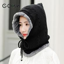 COKK Winter Hats For Women Beanie Thick Velvet Warm Wind Proof Ear Protect For Cycling Bonnet Collar Hat Female Snow Adjust Rope cokk leopard pattern knitted hat female winter hats for women ear protection warm bonnet womens beanie gorras