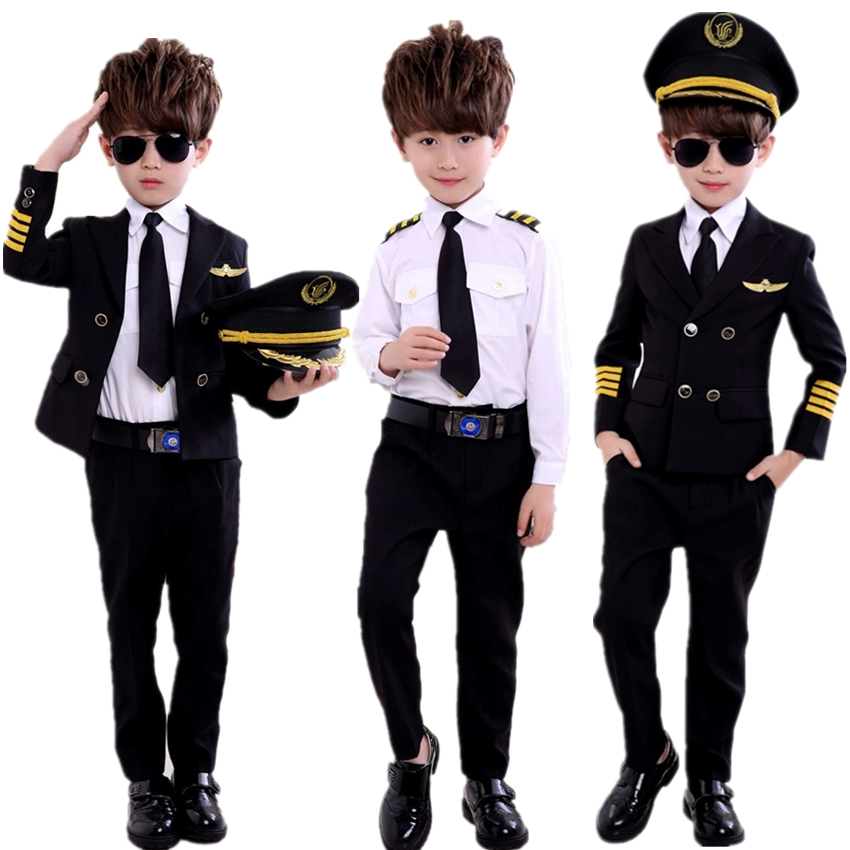 Children's Day Pilot Uniform Stewardess Cosplay Halloween Costumes For Kids Disguise Girl Boy Captain Aircraft Fancy Clothing