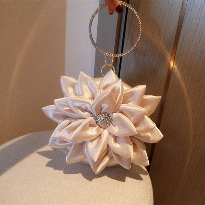Fairy Style Evening Mini Bag Lotus Flower 2019 Luxury Lady Rhinestone Ring Handbag Women Girl Shoulder Party Wedding Banquet
