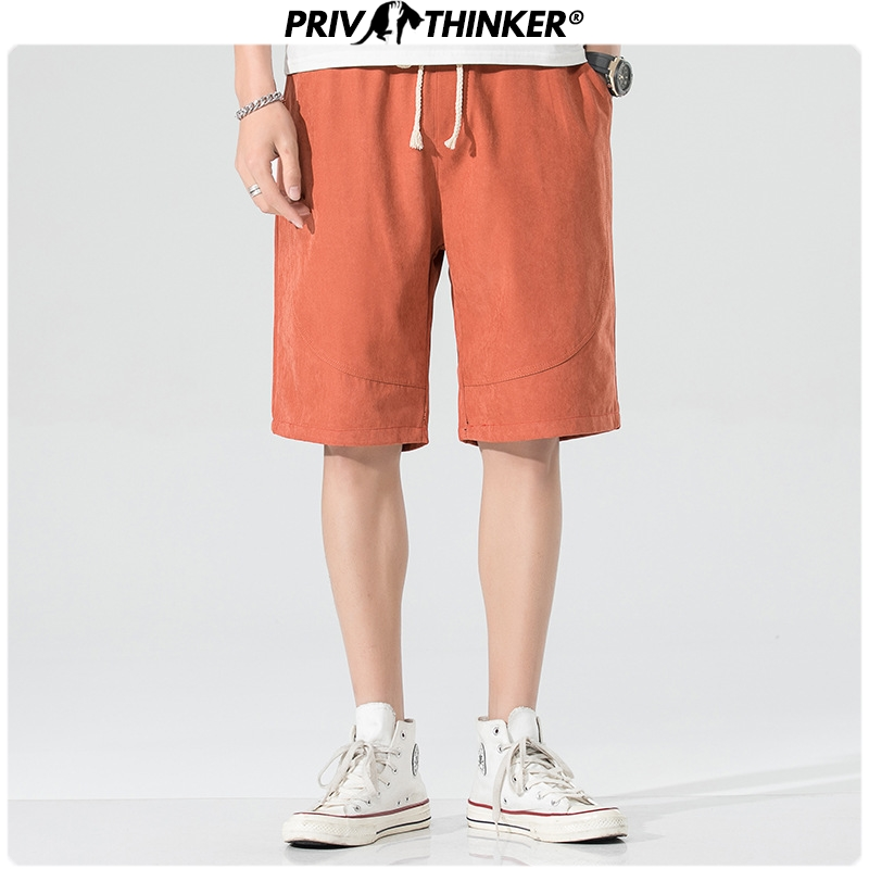 Privathinker 2020 Men 6 Colors Solid Casual Shorts Men's Summer Beach Cargo Shorts 3XL Male Hip Hop Knee Length Pants Bottoms